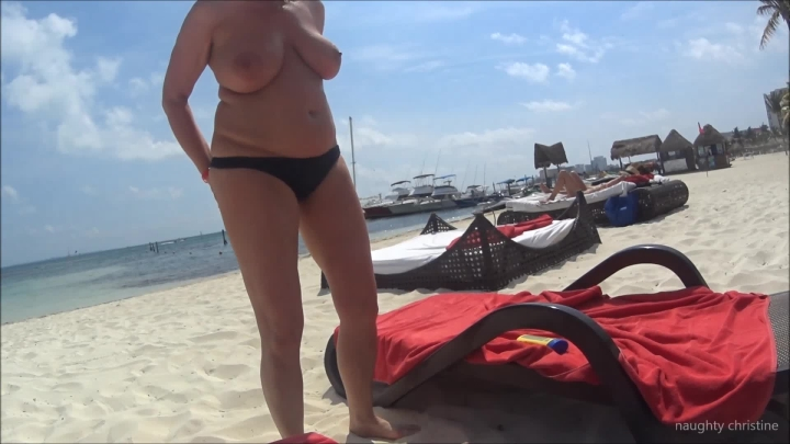 naughty christine applying lotion on a topless beach ~  Naughty Christine ~  Amateur ~  00:05:44 ~ Tan Bodies, Big Boobs, Lotion/oil Fetish ~  147,9 MB 18.10.2019